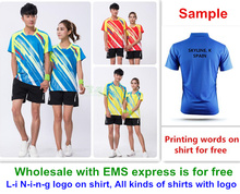 For Wholesale man woman new badminton sport shirt clothes jersey table tennis shirt tennis clothes T shirt jersey