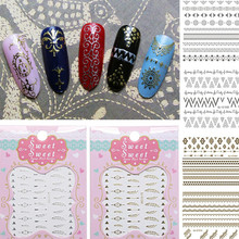 Gold Silver Nail Sticker 3D Ethnic Style Geometric Patterns Design Beauty Nail Art Decorations Self-adhesive Nail Decals