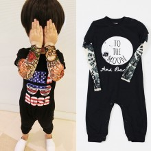 Rockabilly Tattoo Long Sleeve Baby Biker Costume Black One-Piece Rompers Shirt Infant Cotton Jumpsuit Funny Baby Boys Clothes