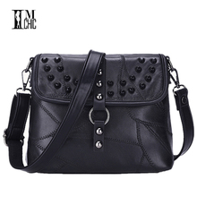 Soft Genuine Leather Women Messenger Bags Patchwork Sheepskin Crossbody Shoulder Designer Rock Rivet Handbag Real Bolsos 602