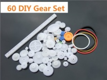 60 pcs/lot Plastic Gear Set DIY Rack Pulley Belt Worm Single Double Gears Free Shipping Russia