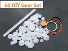 60 pcs/lot Plastic Gear Set DIY Rack Pulley Belt Worm Single Double Gears Free Shipping Russia(China)