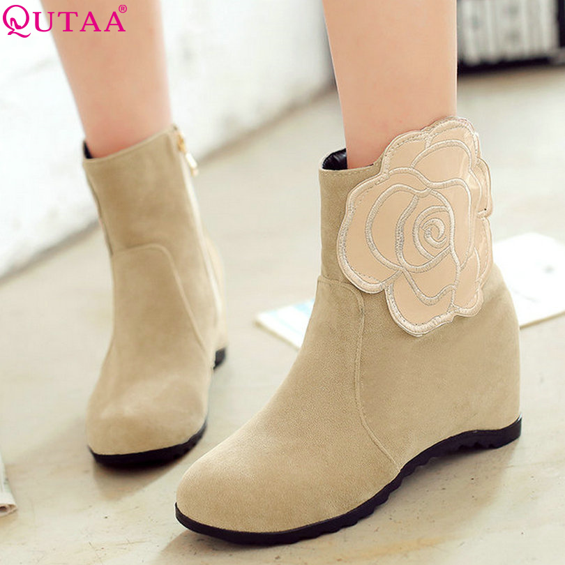 QUTAA Black Wedge High Heel Flowers Woman PU Leather Ankle Boots Women Shoes Zipper Ladies Motorcycle Boots Size 34-43<br><br>Aliexpress