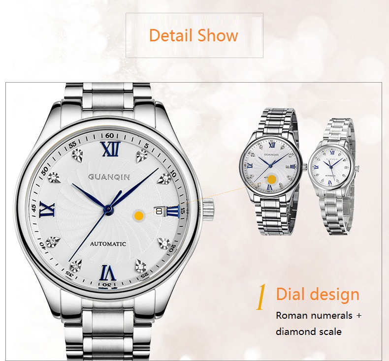 GUANQIN Luxury Lovers Watch Top Brand Women Men Watches Waterproof Sapphire Crystal 316L Stainless Steel Couple Watches 2 Pieces (16)