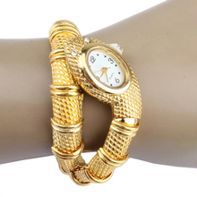 Snake Watches Fashion Snake Steel Bracelet Women Wrist Watchs Quartz Clock For Lady Gift  Gold  LL