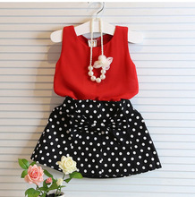 2015 Baby Girls Clothing Sets Summer Red Chiffon Vest+bow polka dot Skirt Outfit Children Clothing Kids Clothes Suit(China)