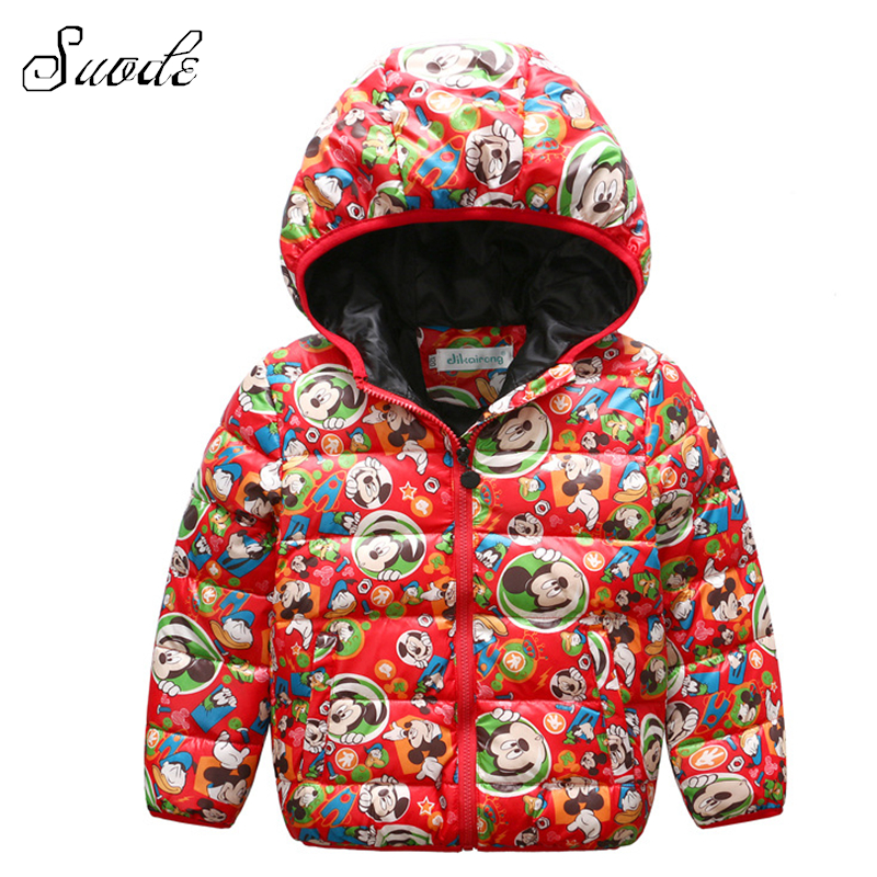 SUODE Mickey Girls Winter Down Coat Kids New Year Thick Warm 90% Duck Down Hooded Jacket Clothes Children Christmas Outerwears Îäåæäà è àêñåññóàðû<br><br>