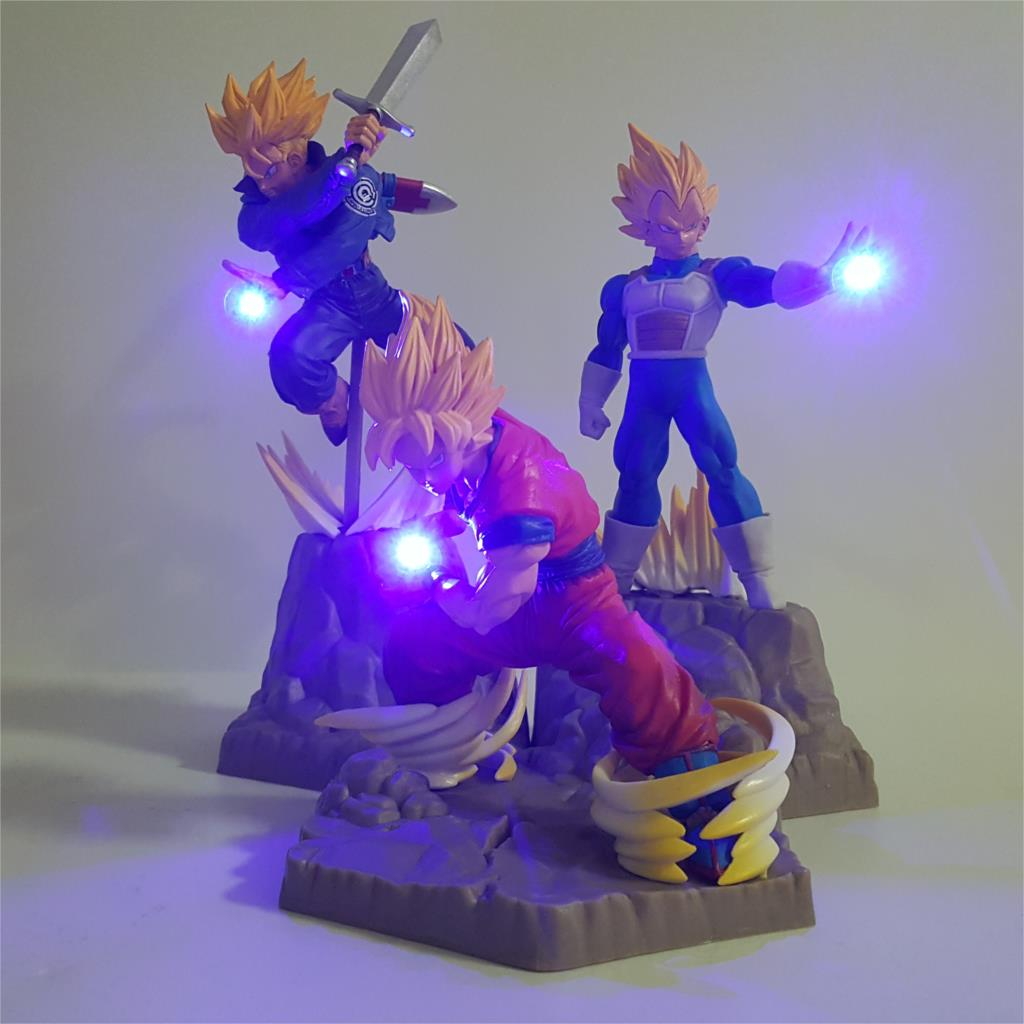 Dragon Ball Z Vegeta Goku Trunks Lampara Super Saiyan Anime 3D Night Light DIY LED Toys Table Decoration Lamp Lighting Kid Gift