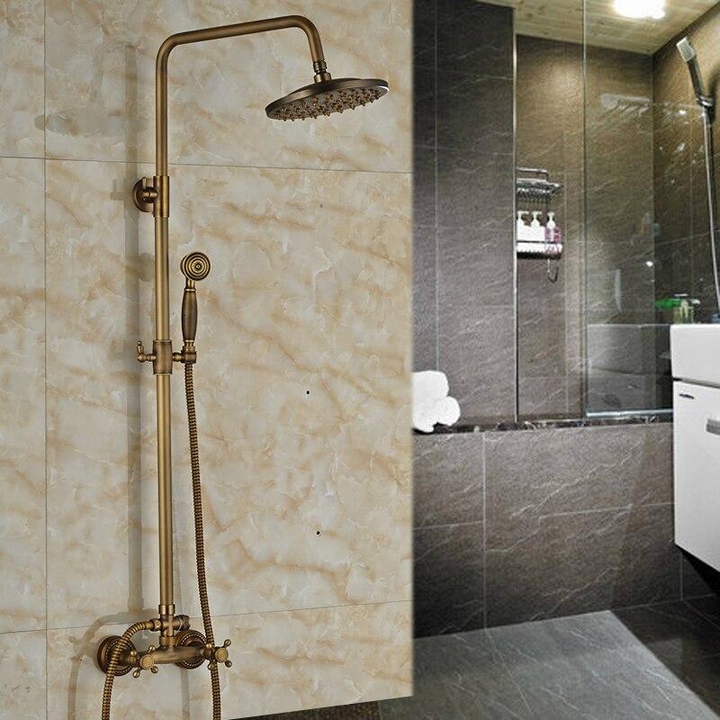 Antique Brass 8 Rain Bathroom Shower Faucet System Dual Handles with Brass Handshower<br><br>Aliexpress