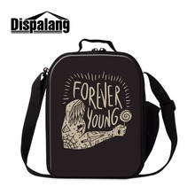 Dispalang unique text pattern boys insulated mini shoulder bag student cooler warm pouch for school kids thermo small food bag
