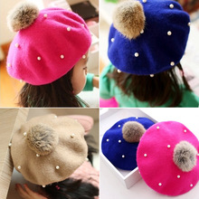Children Wool Beret Cap Kids Girls Hat Cute Beanie Pearl Beads Hat The Dome Cap Buds Hat Fall Winter(China)
