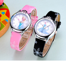 Hot Sales Lovely Children Cartoon Watch Princess Elsa Anna Leather Strap quartz Watch Boys Girls Baby Birthday Gift Wristwatches(China)