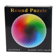 1000 pcs/set Hot Selling Colorful Rainbow Round Geometrical Photopuzzle Adult Kids DIY Educational Toy Jigsaw Puzzle Paper(China)