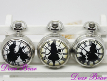 Silver Alice in Wonderland with Rabbit Quartz Pocket Watch Necklace with mirror inside 022