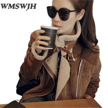 Winter Parka Women Shearling Coats Faux Suede Leather Jackets Coat Faux Lambs Wool Coat Turn-back collar Belt buckle Outerwear(China)