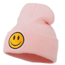 Smile Pattern Knitted Winter Beanies Hats for Women, Pink Black Skully Cap Warm Hats Sombrero Gorros Hombre(China)