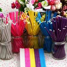 Behokic 100pcs/set 15cm Food-Grade Solid Paper Lollipop Stick Cake Pop Stick For Chocolate Sugar Candy Color Lollypop Paste Tool(China)