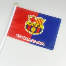 10pcs the Small Barcelona flag 14*21CM shake waving REAL MADRID FCB Flag the hand SPORT FOOTBALL flag with Pole Handing flag(China)