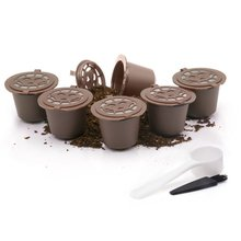 5Pcs Coffee Capsules+Spoon+Brush Set Reusable Black Mini Powder Basket For Nespresso Machine Home Office Coffee Brewing Helper