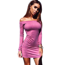 YJSFG HOUSE Ladies Strapless Long Sleeve Party Club Dress Women Autumn Bodycon Mini Wrap Dress Sexy Off Shoulder Pencil Dresses