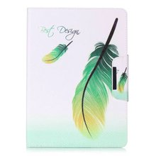 Green Feather PU Leather Flip Case for Apple iPad air 2 iPad mini 4 1 2 3 iPad 2 3 4 iPad Pro 9.7 Case Stand Case Free Shipping