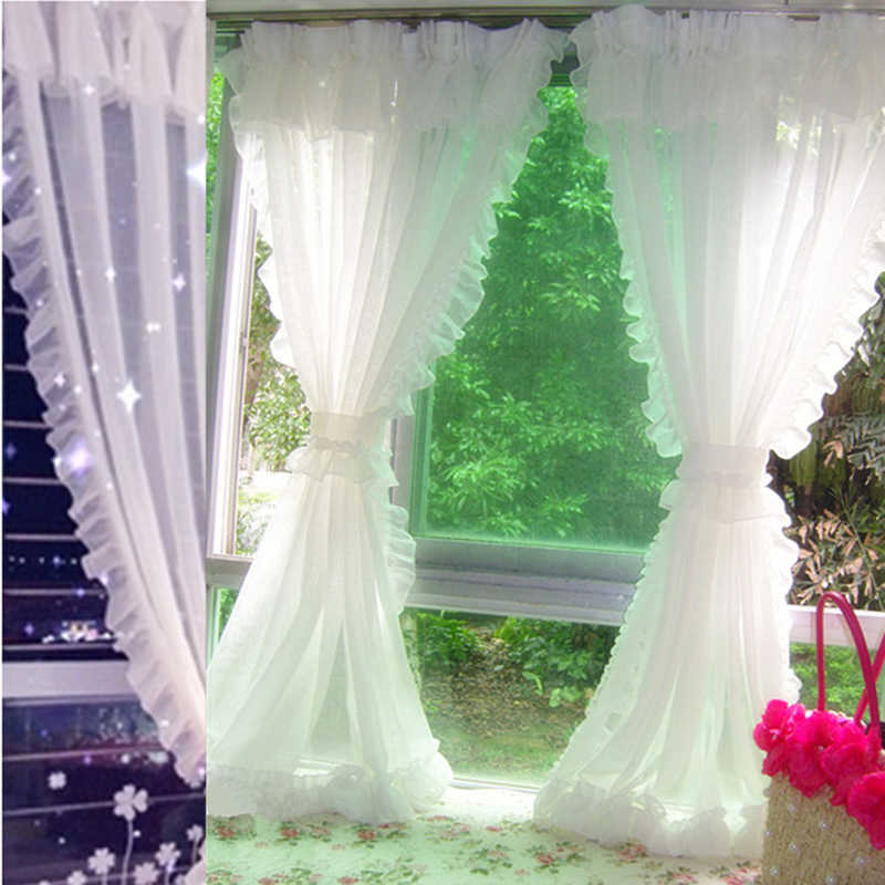 Lace Tulle Curtains For Living Room Bedroom Roman White Sheer Curtains For Kitchen Window Home Decoration Drapes rideaux voilage