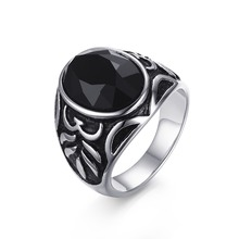 New 18mm Men's Vintage Semi Precious Onyx Rings Rock Stainless Steel Club Party Bague Men Jewelry Gift Rc-285