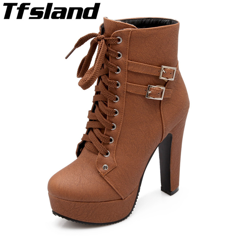 Tfsland 2018 Spring Autumn Women Ankle Boots Female High Heels Lace Leather Shoes Double Buckle Thick Platform Walking Shoes