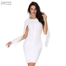 2017 Sexy Women Winter Party Dresses White Bodycon Dress Black O-neck Batwing Sleeve Luxury Celebrity Runway Dress Club Vestidos(China)