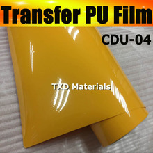 CDU-04 YELLOW HEAT TRANSFER PU FILM WITH FREE SHIPPING,WHOLE ROLL SIZE:50CMX25M