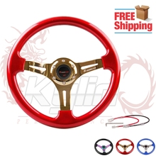 330mm  black/blue/red classic ABS car sport steering wheel steering-wheel with neo chrome/silver/gold spokes