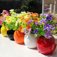 Silk Artificial Flowers For Wedding Home Decoration 28 Heads Fake Daisy Cheap China Real Touch Flower Plants Grass(China)