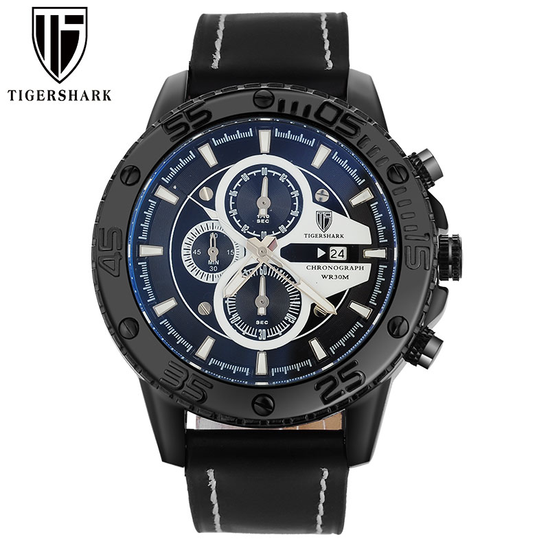 2017 TIGERSHARK popular brand luminous black dial watches men sport chronograph 30M waterproof date genuine leather wristwatches<br><br>Aliexpress