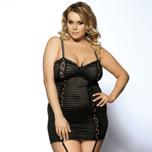 RA7652 Women's fashion Plus size babydoll black white fantasia sexy on sale clear sexy costumes set of lingerie(China)