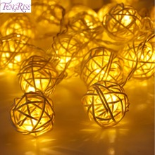 FENGRISE 20 Rattan Ball Led String Fairy Lights Christmas Tree Ornaments Xmas Decoration Warm White LED Lights Home Garden Decor(China)