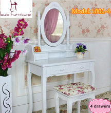 White Ivory colored Queen Anne style dresser Make Up dressing table vanity set with swivel oval mirror and stool(China)