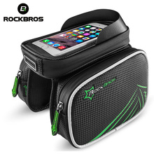 ROCKBROS Bicycle Bag Rainproof Bike Bicycle Front Head Bag Top Tube Double IPouch Cycling Pannier 5.8 6.0 6.2 Inch Touch Screen