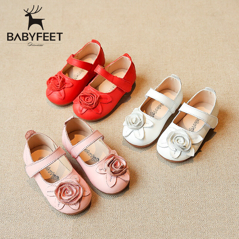 Babyfeet Children girls red shoes kids Princess dancing shoes Genuine Leather formal Party Ballet Flats toddler shoes Size 21-30<br>