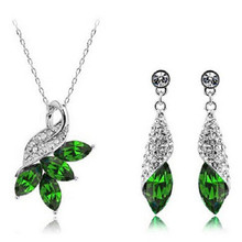 SHUANGR Fashion Women Jewelry Sets Austrian Crystal Necklace Earrings set Pendant Chain Necklaces for Woman Gift(China)