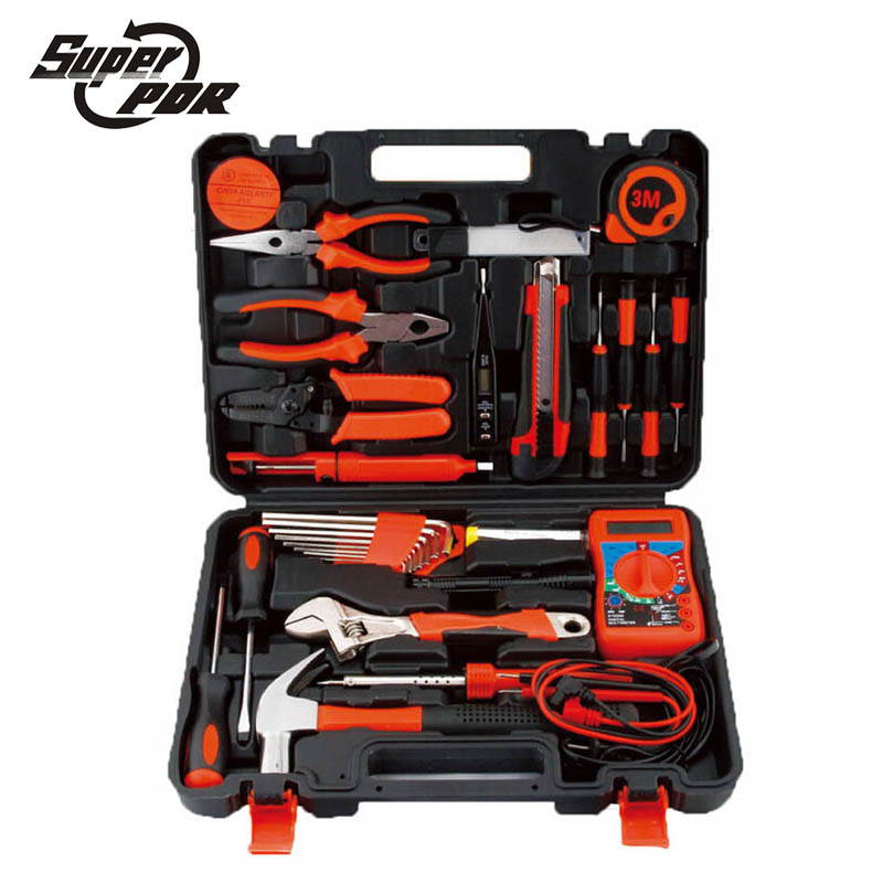 Super PDR 35 pcs household electric tools set saw screwdriver Claw hammer wrench plier Multimeter Electric Soldering Iron tools