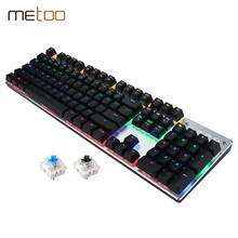 Metoo Wired Mechanical Keyboard 87/104 Keys Real Blue Switch Gaming LED Backlit Anti-Ghosting for Gamer Computer Keyboard