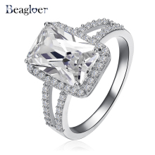Beagloer Brand Big Rectangle Cut Princess Ring Silver Color Clear AAA Cubic Zircon Ring Western Style CRI0014-B(China)