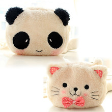 Cute Cartoon Cat Panda Shape Soft Plush Cosmetic Makeup Bag Pouch Pen Pencil Case Organizador Storage Bag(China)