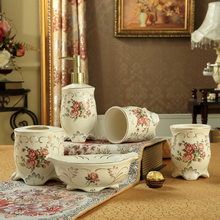 free shipping Home bathroom ceramic bathroom set of 5 pieces bathroom holder houseware