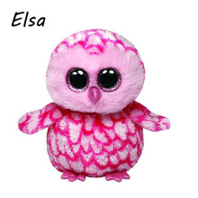 Original Ty Beanie Boos Big Eyes Plush Toy Doll Pink Owl TY Baby Kids Gift 10-15 cm WJ159