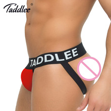Buy Taddlee Brand Sexy Men Underwear Jock Straps Cotton G Strings Thong Gay Penis Low Rise Jockstraps Brief Bikini Backless Buttocks
