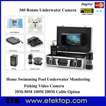 Recording Function Underwater Video CCTV Camera 20m Cable Rotation Fishing Camera Fish Finder 8GB SD Card