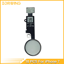"10pcs/lot Home Button with Flex Cable for iPhone 7 4.7""/ 7plus 5.5""  Black/White/Gold Home Flex Assembly"