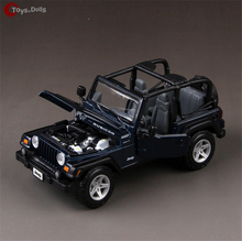 Alloy Diecast Car 1/27 Scale Jeep Wrangler Convertible 1:27 SUV Car Model W box 3 colors Christmas kids Toys Collection