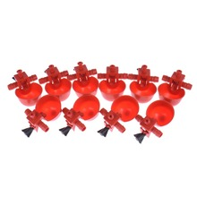 10 Pieces / Lot Red Plastic Automatic Chicken Feeder Drinkers for Poultry Duck,Goose, Guinea Fowl Pheasant Pigeon Quail Turkey(China)